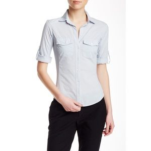 James Perse Contrast Ribbed Blue Surplus Shirt